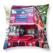 Red London Bus Throw Pillow