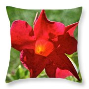 Red Mandevilla Throw Pillow