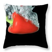 Red Pepper Falling Into Water Throw Pillow