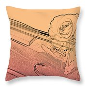 Red Rose Violin Viola Throw Pillow