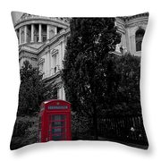 Red Telephone Box Throw Pillow