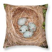 Red-winged Blackbird Nest Throw Pillow