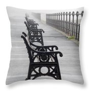 Redcar, North Yorkshire, England Row Of Throw Pillow by John Short