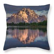Reflections On Mount Moran Throw Pillow