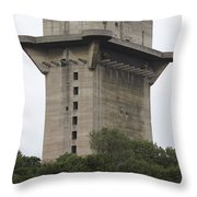 Remains Of Anti-aircraft L-tower Throw Pillow