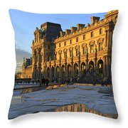 Richelieu Wing Of The Louvre Museum In Paris Throw Pillow