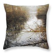 River In The Fog Throw Pillow