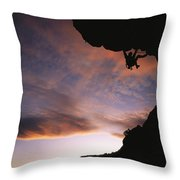 Rock Climbing Out A Steep Roof In Sinks Throw Pillow