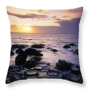 Rocks On The Beach, Giants Causeway Throw Pillow