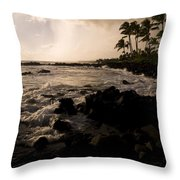 Rocky Coastline, Poipu, Kauai, Hawaii Throw Pillow