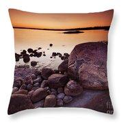 Rocky Shore At Twilight Throw Pillow