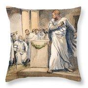 Roman Senate: Catiline Throw Pillow