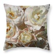Romantic White Roses Throw Pillow