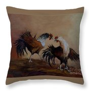 Rooster Fight Throw Pillow
