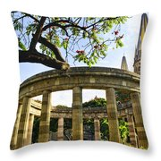 Rotunda Of Illustrious Jalisciences And Guadalajara Cathedral Throw Pillow
