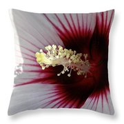 Ruby And White Hibiscus Throw Pillow