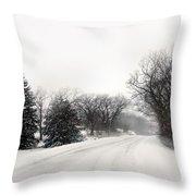 Rural Road In Winter Throw Pillow