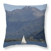 Sailing Boat And Mountain Throw Pillow
