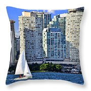 Sailing In Toronto Harbor Throw Pillow