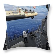 Sailors Lower A Rigid Hull Inflatable Throw Pillow