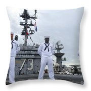 Sailors Man The Rails Aboard Throw Pillow