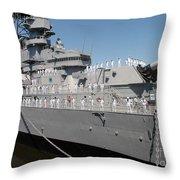 Sailors Man The Rails Throw Pillow