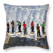 Sailors Perform A Flight Deck Wash Throw Pillow