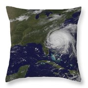 Satellite View Of Hurricane Irene Throw Pillow