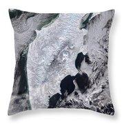 Satellite View Of Kamchatka Peninsula Throw Pillow