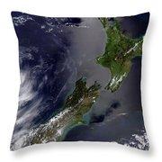 Satellite View Of New Zealand Throw Pillow