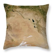 Satellite View Of The Middle East Throw Pillow