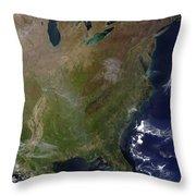 Satellite View Of The United States Throw Pillow