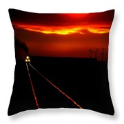 Scenic View Of An Approaching Trrain Near Sunset Throw Pillow