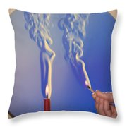 Schlieren Image Of A Candle And Match Throw Pillow