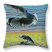 Sea Gulls In Flight  Throw Pillow