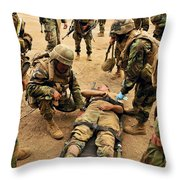 Seabees Conduct A Mass Casualty Drill Throw Pillow