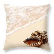 Seashell And Ocean Wave Throw Pillow