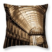 Sepia Toned Image Of Leadenhall Market London Throw Pillow