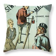 Sewing Machine Trade Card Throw Pillow by Granger