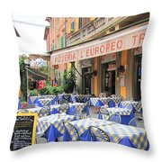 Sidewalk Cafe In Italy Throw Pillow