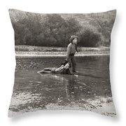 Silent Film Still: Cowboys Throw Pillow