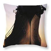 Silhouette Of The Battleship U.s.s Throw Pillow