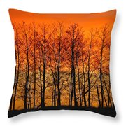 Silhouette Of Trees Against Sunset Throw Pillow
