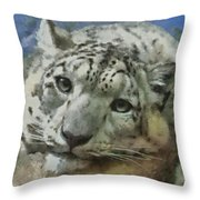 Snow Leopard Painterly Throw Pillow