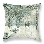Snowing In The Park Throw Pillow