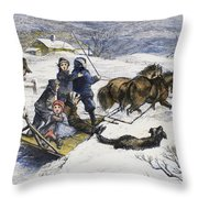 Snowstorm In The Country Throw Pillow