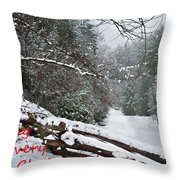 Snowy Fence Throw Pillow