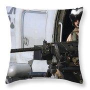 Soldier Mans A .50 Caliber Machine Gun Throw Pillow