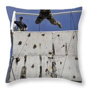 Soldier Rappels Off A Tower While Throw Pillow