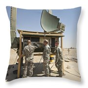 Soldiers Checking A Radar System Throw Pillow